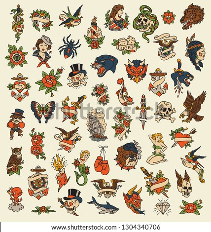 52 Hand drawn old school tattoo isolated icon vector image set Royalty-Free Stock Photo #1304340706
