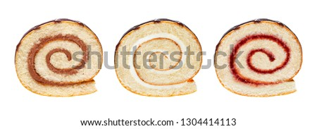 Sponge cake roll slices isolated on white background, with chocolate, vanilla and berry cream, different swiss rolls collection for use in packaging #1304414113