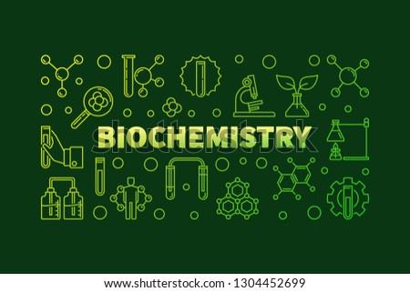 Biochemistry vector green concept horizontal banner or illustration in outline style on dark background #1304452699