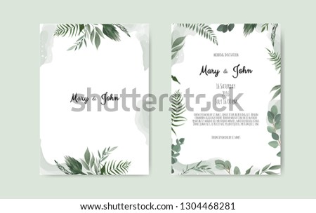 Botanical wedding invitation card template design, white and pink flowers on white background. #1304468281