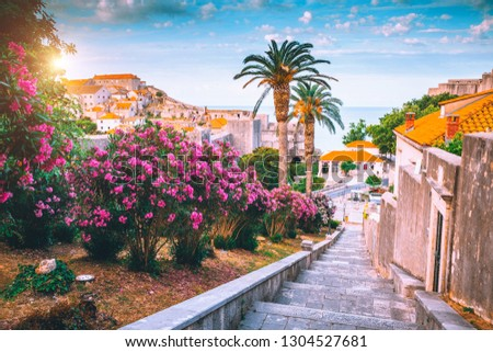 Splendid view at famous european city of Dubrovnik on a sunny day. Location place Croatia, South Dalmatia, Europe. Mediterranean resort, UNESCO world heritage site. Discover the beauty of earth. #1304527681
