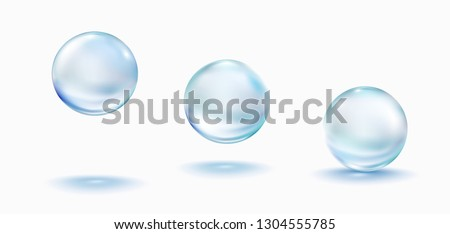 Collagen droplets set isolated on white background. Realistic vector clear dews, blue pure drops, water bubbles or glass balls template. #1304555785