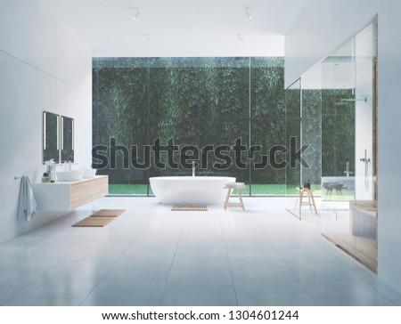 3D rendering. new modern zen bathroom with tropic plants #1304601244