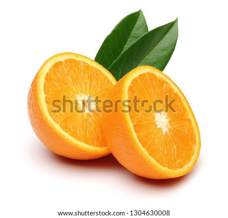 Fresh Oranges and leaves isolated on white background #1304630008
