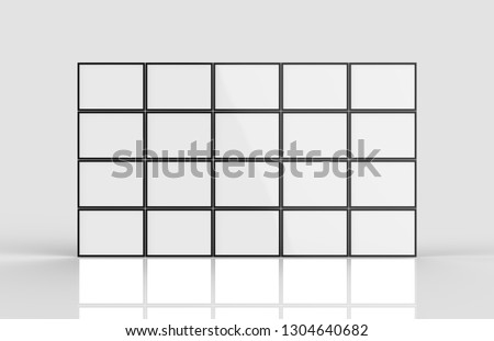 Wall LCD display screen panel isolated on light grey background, 3d illustration.