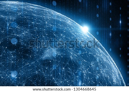 Digital network data globe, view from space and flare of light. Artificial intelligence illustration background. #1304668645