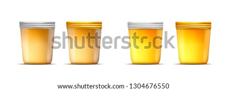 Vector honey glass jar with gold and silver screw cap. #1304676550