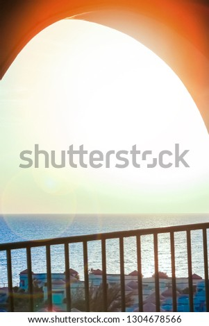 Stylishly beautiful house on sea background #1304678566