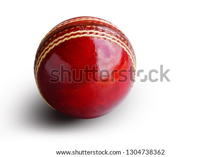 Cricket ball leather hard circle stitch close-up new isolated on white background. This has clipping path.                                 #1304738362