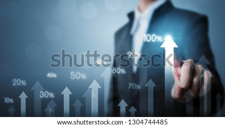 Business development to success and growing growth concept. Businessman pointing arrow graph corporate future growth plan and increase percentage #1304744485