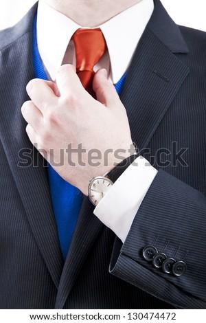 Business man with orange necktie #130474472