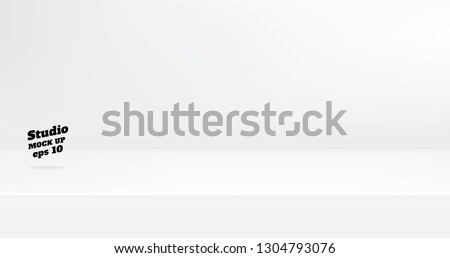 Vector,Empty modern white color studio table room background ,product display with copy space for display of content design.Banner for advertise product on website Royalty-Free Stock Photo #1304793076