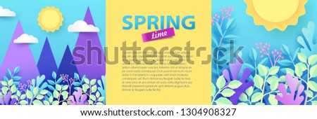 Spring and summer illustration of beautiful nature landscape with flowers, plants, rocks, sun and sky. Banner with space for your text. Paper cut style. Trendy design for sale, advertisement, web. #1304908327
