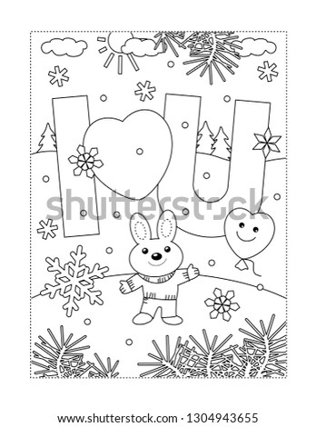 Valentine's Day coloring page for children or adults