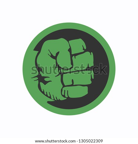 Green clenched fist isolated on a white background. Compressed green fist. Green fist icon. Vector illustration