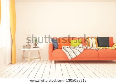 White stylish minimalist room with orange sofa. Scandinavian interior design. 3D illustration #1305055318