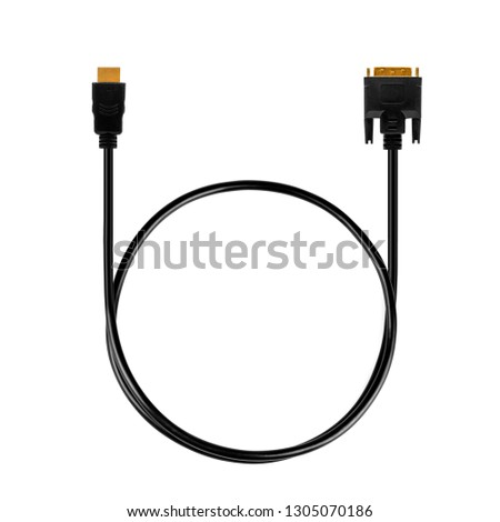 A black DVI to HDMI computer monitor conversion cable with gold tips and connecting pins isolated on a white background #1305070186