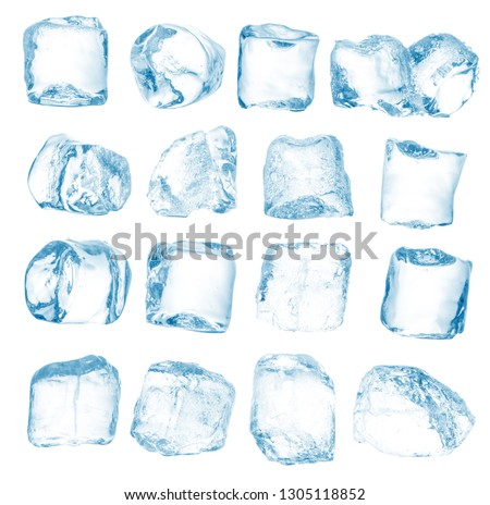 Set of peaces of pure blue natural crushed ice/ice cubes. Clipping path for each cube included. #1305118852