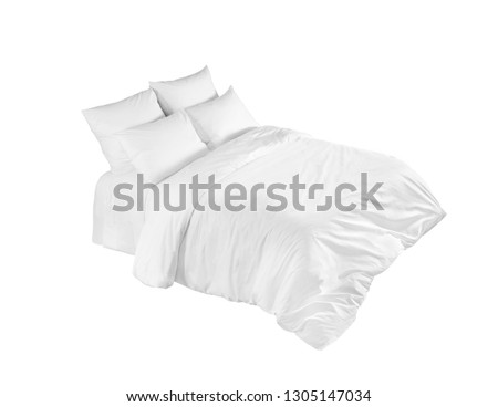 White bed isolated, white bed linen isolated, bed with pillows isolated #1305147034