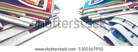 Newspaper and journal. Entertainment and leisure. Publication in magazin and books background. Fashion articles and catalog design over white background #1305167950