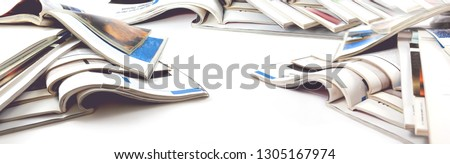 Newspaper and journal. Entertainment and leisure. Publication in magazin and books background. Fashion articles and catalog design over white background #1305167974