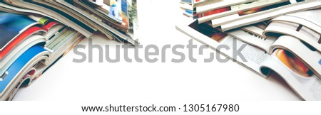 Newspaper and journal. Entertainment and leisure. Publication in magazin and books background. Fashion articles and catalog design over white background #1305167980