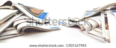 Newspaper and journal. Entertainment and leisure. Publication in magazin and books background. Fashion articles and catalog design over white background #1305167983