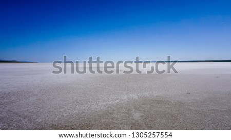 Coast of Salt Lake (Tuz Golu), Turkey. Breathtaking lake landscape under clear sky. White sand and amazing blue unique lake on sunny day. Dry lake / land in Asia. Global warming effect concept photo. #1305257554