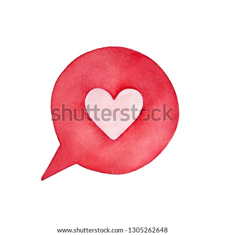 """Cute pink heart in round bright speech bubble shape. Symbol of compliment, romance, """"I love you"""" words. Handdrawn watercolour painting, isolated clip art element for design, decor, creative collages."""