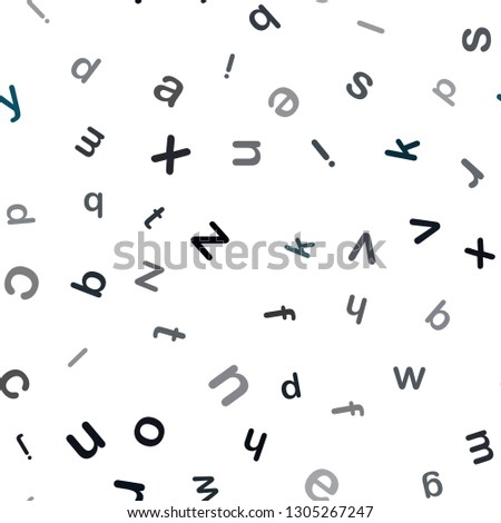 Dark BLUE vector seamless background with signs of alphabet. Shining colorful illustration with isolated letters. Texture for window blinds, curtains. #1305267247