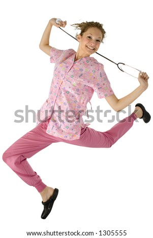 Happy young nurse jumping.  Clipping path. #1305555