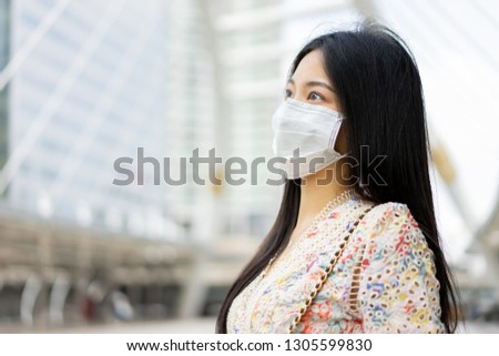 panic coronavirus outbreak ,Asian girl traveler cover mouth cough, wear medical face mask to protect from infection of corona viruses, pandemic, outbreak and epidemic of COVID-19 disease healthcare #1305599830