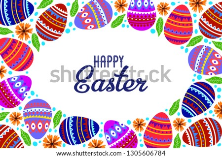 Happy Easter. Cartoon cute eggs and doodle flowers on a white background with text. Horizontal Vector illustration #1305606784