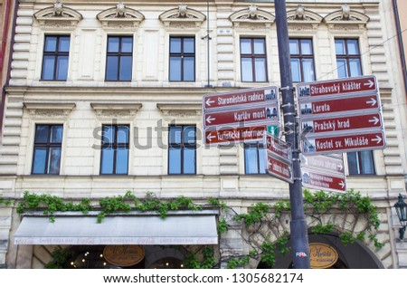 Prague, Czech Republic - 09/05/2018: Street signs in Prague. Architecture of Prague old town #1305682174