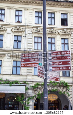 Prague, Czech Republic - 09/05/2018: Street signs in Prague. Architecture of Prague old town #1305682177