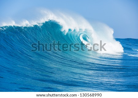 Blue Ocean Wave Royalty-Free Stock Photo #130568990