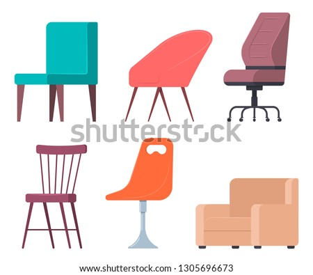 Chairs and armchairs vector flat set of home and office furniture elements isolated on white background. #1305696673
