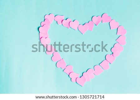 Beautiful pink heart on pastel blue background, top view. Happy Women's, Mother's, Valentine's Day, greeting card #1305721714