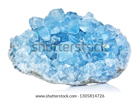 Sky Blue Celestine Crystal Stone macro mineral gemstone. Natural Azure rough Celestite crystals cluster isolated on white background #1305814726