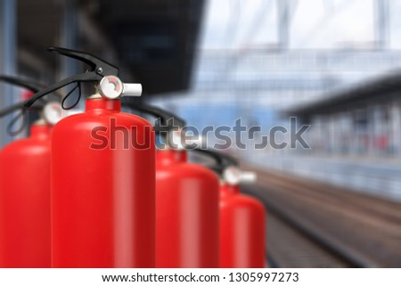 Fire emergency extinguisher red alarm alert background #1305997273