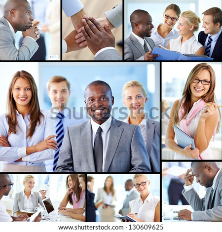 Collage of confident employees at work #130609625