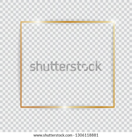 Gold shiny glowing vintage frame. Golden luxury realistic rectangle border with shadows isolated on transparent background. Vector illustration #1306118881