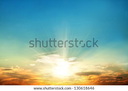 Scenic orange sunset sky background Royalty-Free Stock Photo #130618646