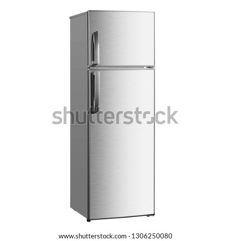 Top Mount Fridge Isolated on White Background. Side View of Stainless Steel Double Door Refrigerator. Modern Kitchen and Domestic Household Appliances. Full Frost Free Freezer #1306250080