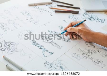 Animator designer Development designing drawing sketching development creating graphic pose characters sci-fi robot Cartoon illustration animation video game film production , animation design studio. #1306438072