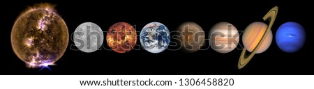 Solar system planets and the Sun in a row isolated on black. Mercury, Venus, planet Earth, Mars, Jupiter, Saturn, Neptune. Science and education background. Elements of this image furnished by NASA.