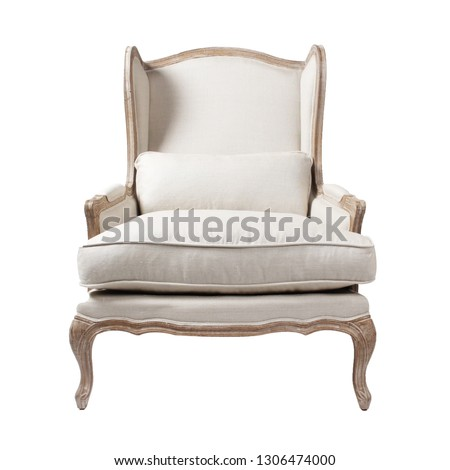 Wingback Chair Isolated on White Background. Front View of Vintage Linen Blend Accent Armchair with Upholstered Wings and Armrests. Classic Interior Furniture with Wooden Feet #1306474000