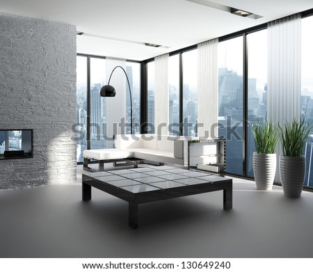A 3D rendering of modern living room interior #130649240