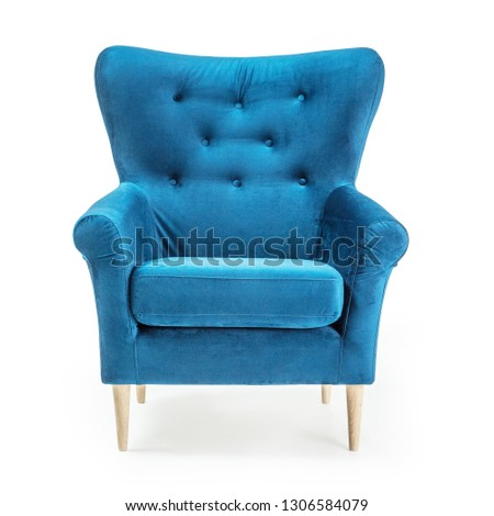 Turquoise Arm Chair Isolated on White Background. Front View of Upholstered Wingback Accent Sofa. Classic Tufted Armchair with Wooden Feet Teal Blue Velvet Upholstery. Interior Furniture with Armrests #1306584079