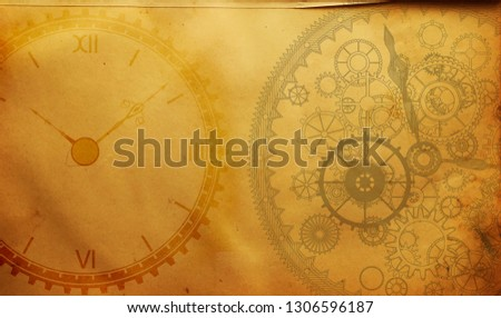 Vintage clock steampunk frame background, watches, cogs, gears, old retro #1306596187